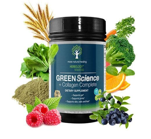 More Natural Healing Green Science + Collagen SuperFood Green Drink Powder Supplement for Joints and Gut Support Powder Drink - 30 Day Supply - More Natural Healing