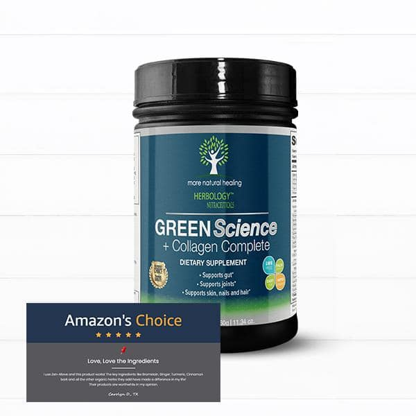 Green Science + Collagen SuperFood Green Drink Powder Supplement for Joints and Gut Support Powder Drink - 30 Day Supply - More Natural Healing