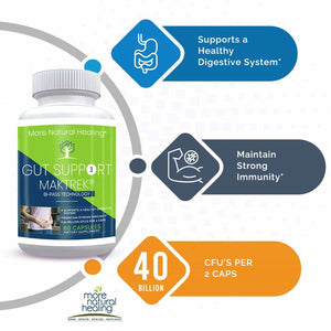 Gut Support Healthy Digestive System Probiotic Supplement Capsules - More Natural Healing