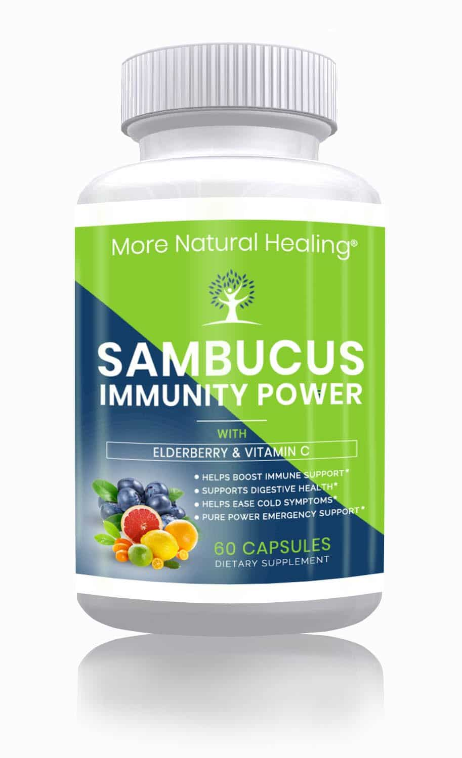 Sambucus Immunity Power + Vitamin C Elderberry Capsules for Immune Support - More Natural Healing