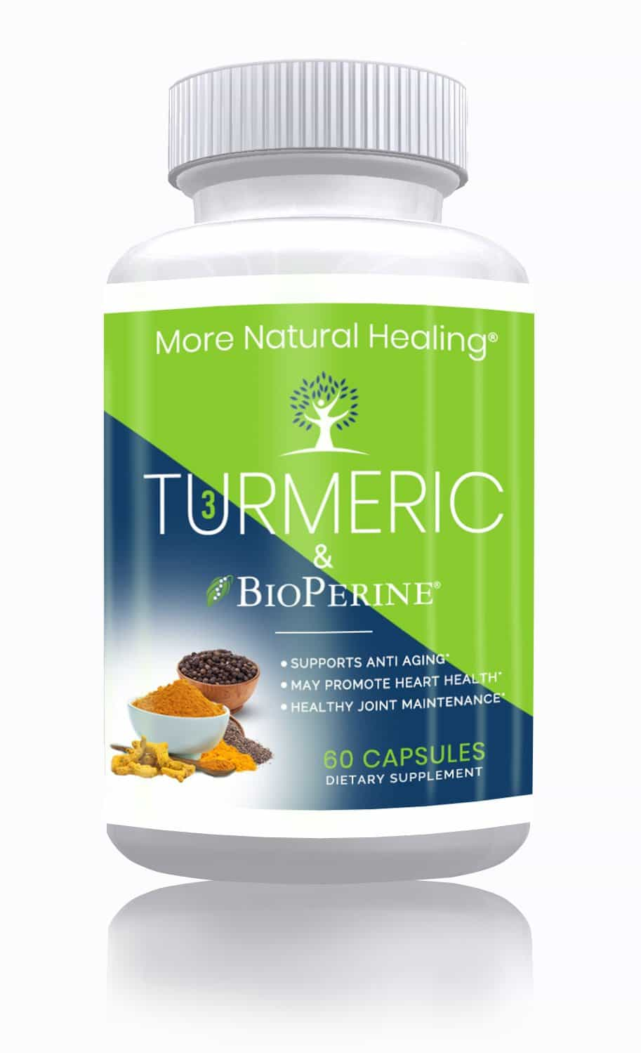 Turmeric plus BioPerine® with Curcumin Capsules for Immune System Support and Joint Pain Relief - 650 mg - 60 Capsules - More Natural Healing
