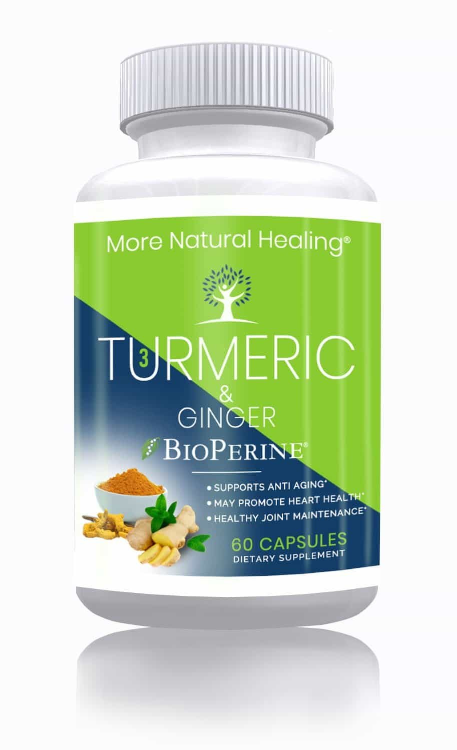 Turmeric and Ginger with BioPerine Supplement for Joint Health, Heart Health and Pain Relief - More Natural Healing