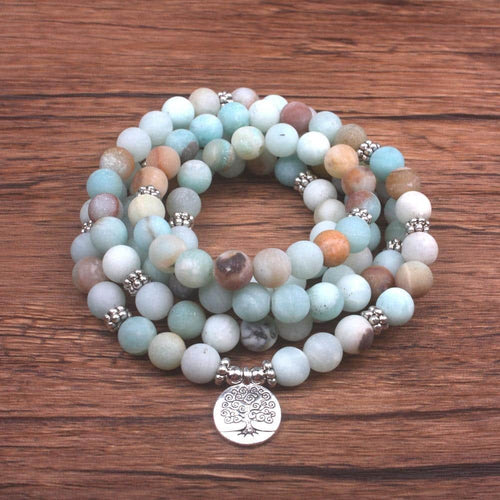 Natural 8 mm Bead Amazonite Necklace or Bracelet with Tree of Life - More Natural Healing