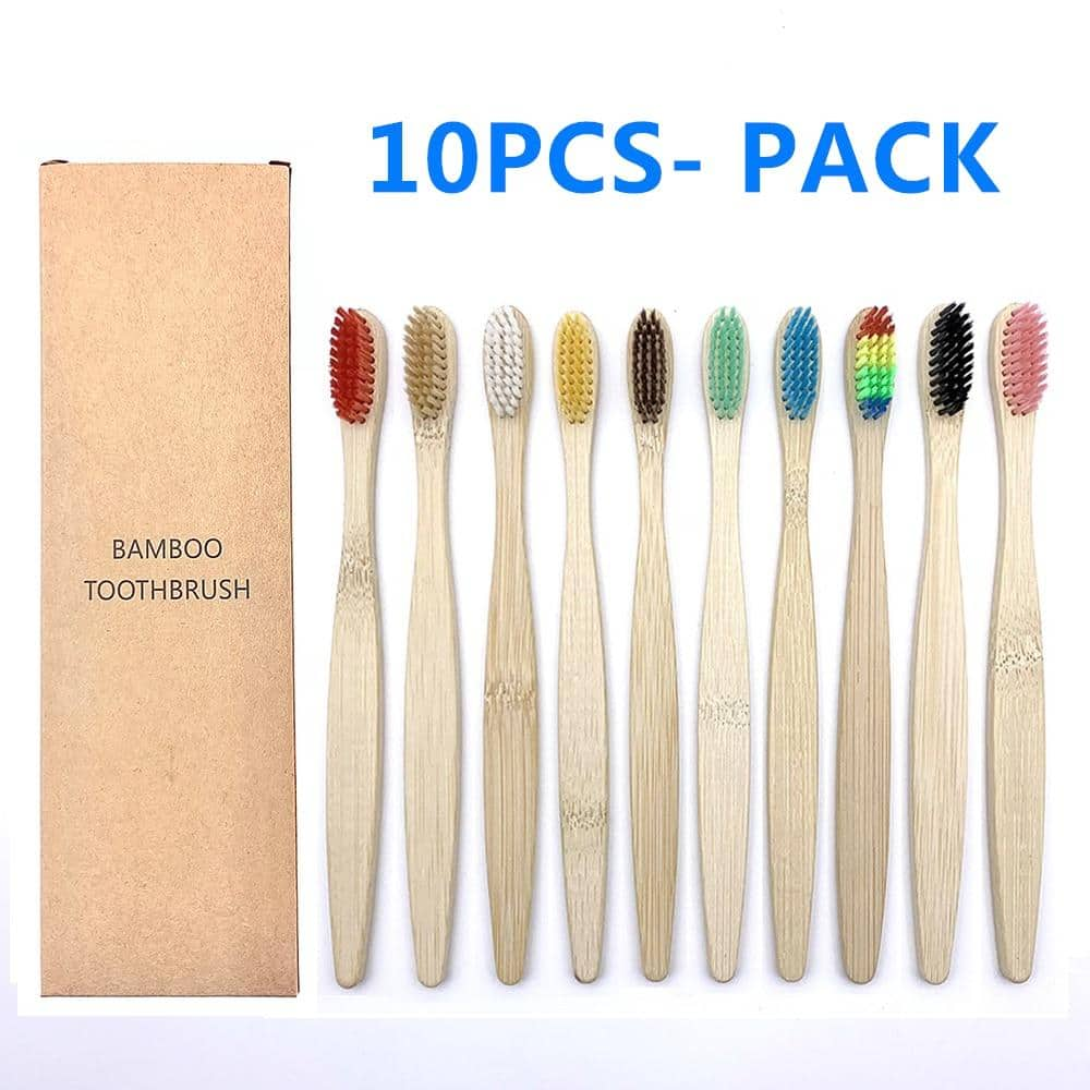 10 PCS Colorful Natural Bamboo Toothbrush Set