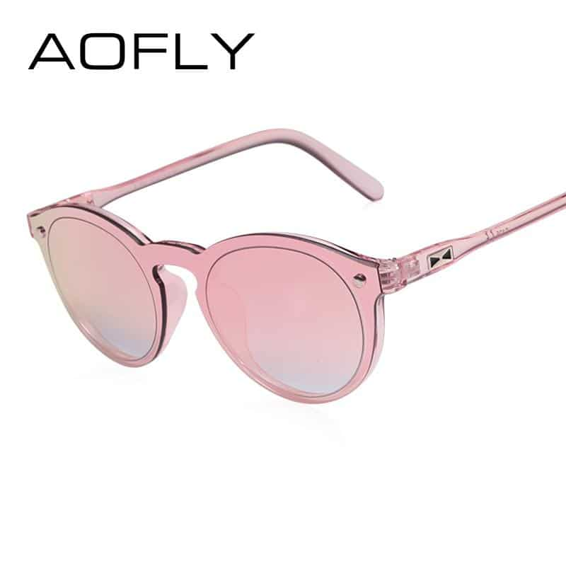 AOFLY Women Sunglasses Oval Retro with Reflective Mirror - More Natural Healing