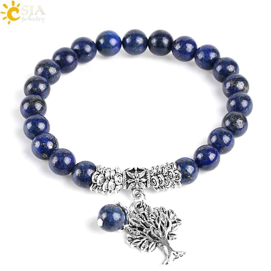 Reiki 7 Chakra Natural Stone Lapis Bracelet with Tree of Life 8mm - More Natural Healing