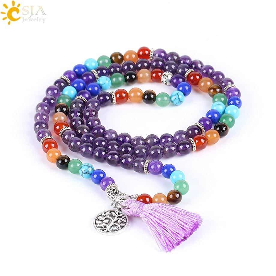 Reiki 7 Chakra Natural Purple Quartz Yoga Bracelet with Tree of Life and Tassel 6mm - More Natural Healing