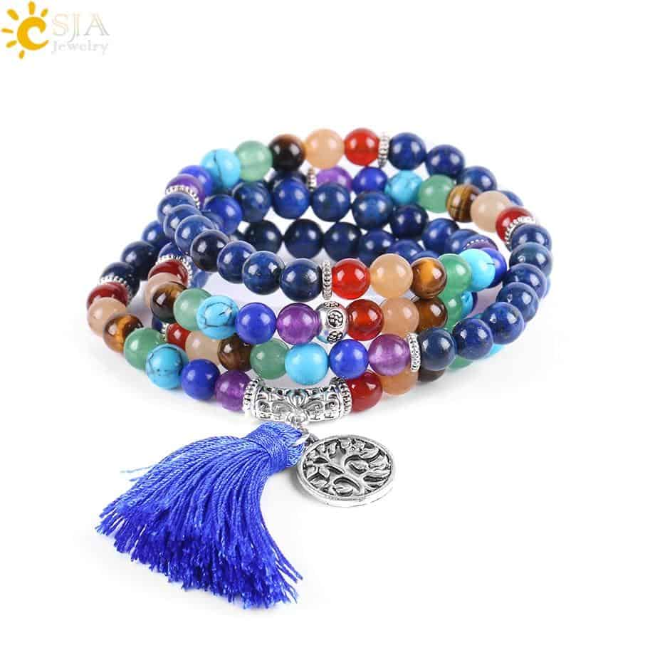 Reiki 7 Chakra Natural Lapis Yoga Bracelet with Tree of Life and Tassel - More Natural Healing