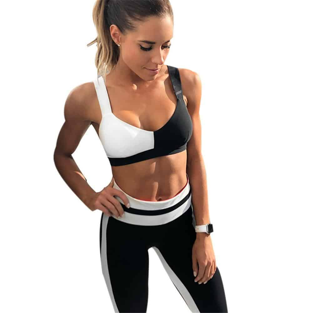 Women Black & White Sportswear Leggings & Bra Set for Fitness, Gym, Yoga, Running or Jogging, Workout - More Natural Healing
