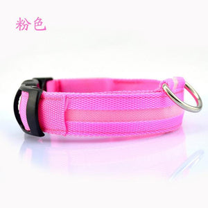 LED Nylon Pet Dog Collar for Night Safety with Flashing Glow In The Dark Dog Leash