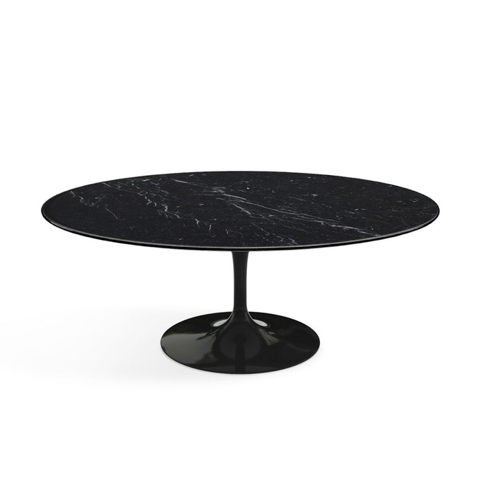 Table basse ovale, Marbre Marquina Saarinen - octantdesign.com