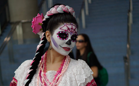 DAY OF THE DEAD LADY WITH FLOWERS AND GLITTER MEXICO WITH FREE SHIPPING