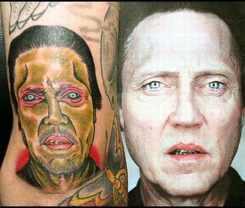 "<img src=""portrait tattoo.jpg"" alt="" a portrait tattoo showing how a portrait can appear quite different from the real picture when used on a tattoo"">"