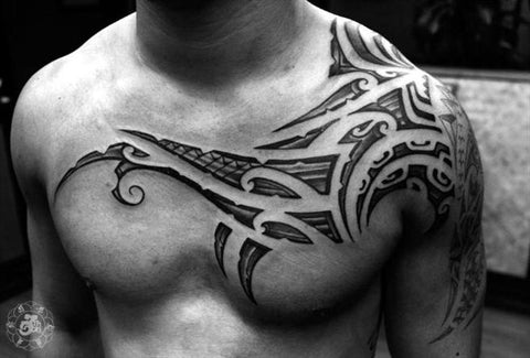 Tribal Tattoo-Chest And Shoulder