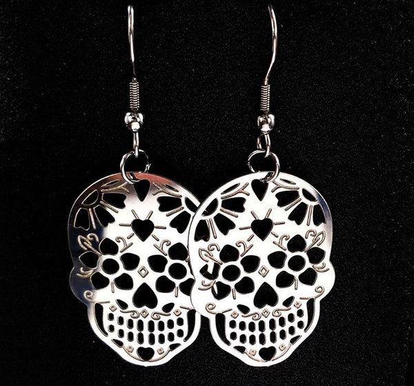 Hollow Stainless Steel Skull Drop Earrings