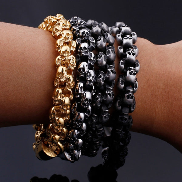 New Stainless Steel Skull Charm Link Chain Bracelets (4 colors)