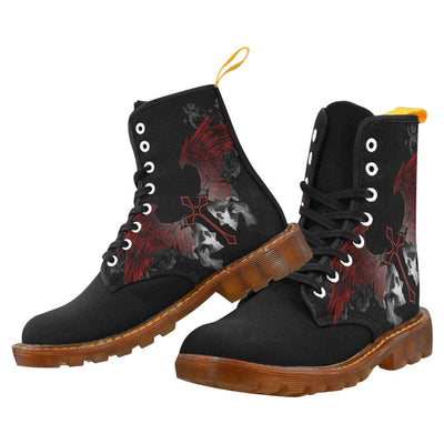 Gothic Cross Wing Skull Printed Men's Boots