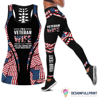 Veteran Wife Personalized Tank Top And Legging Set