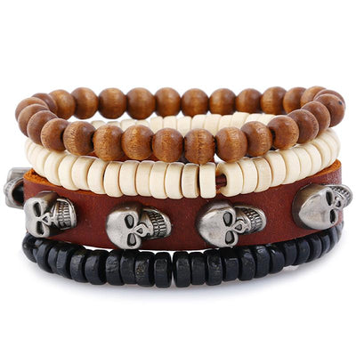 Multi-Layer Punk Skull Leather Bracelet