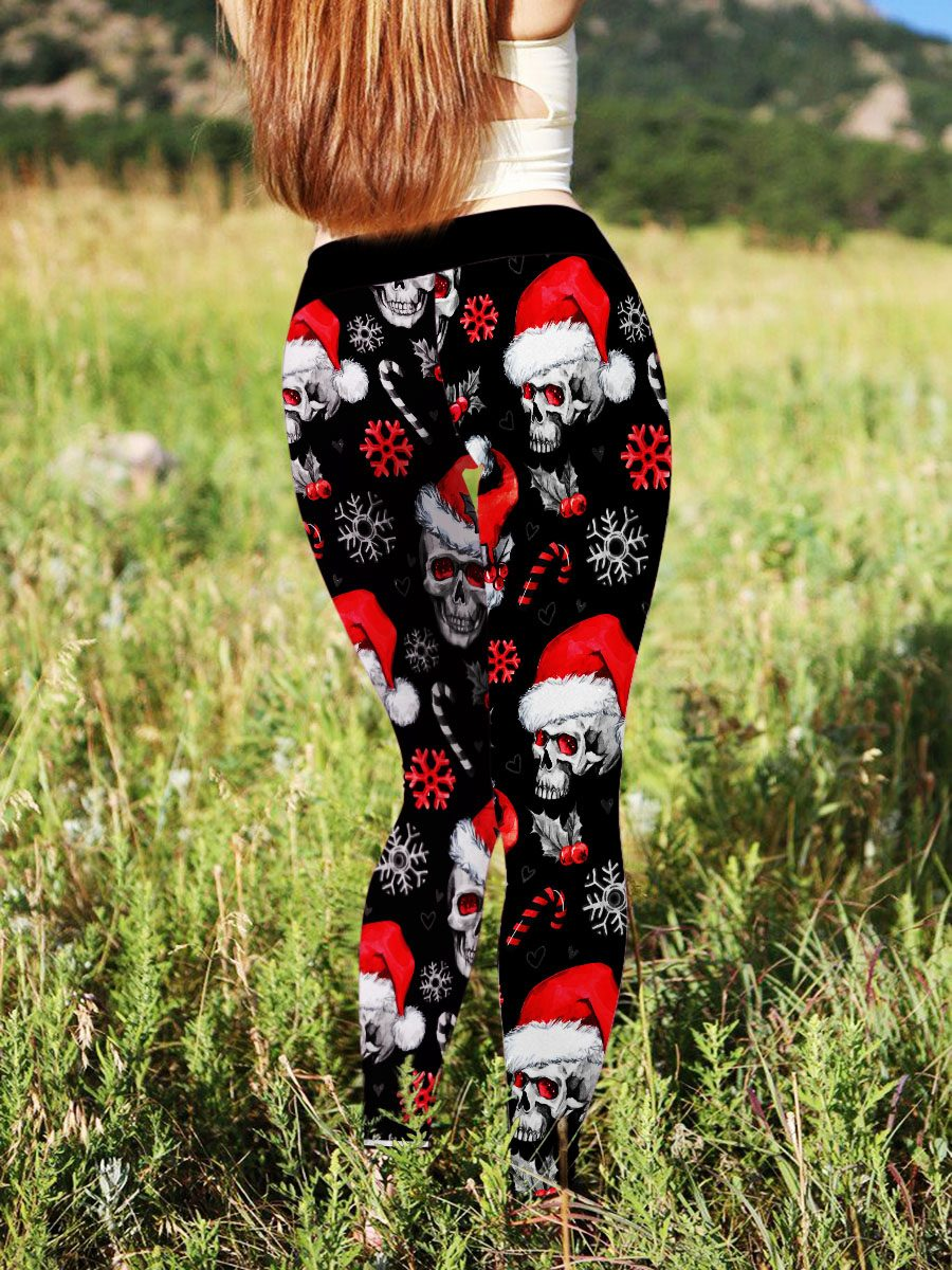 Christmas Skull Leggings with US Plus Size