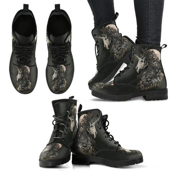 New Comfortable Lace Up Leather Boots Unicorn Skull 003