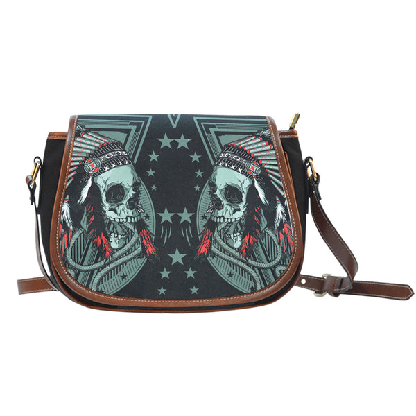 3D Skull Leather Cross-Body Carrying Strap Canvas Saddle Bags 002 - designfullprint