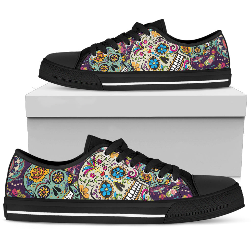 Mexican Sugar Skull Low Top Canvas Shoes 002 - designfullprint