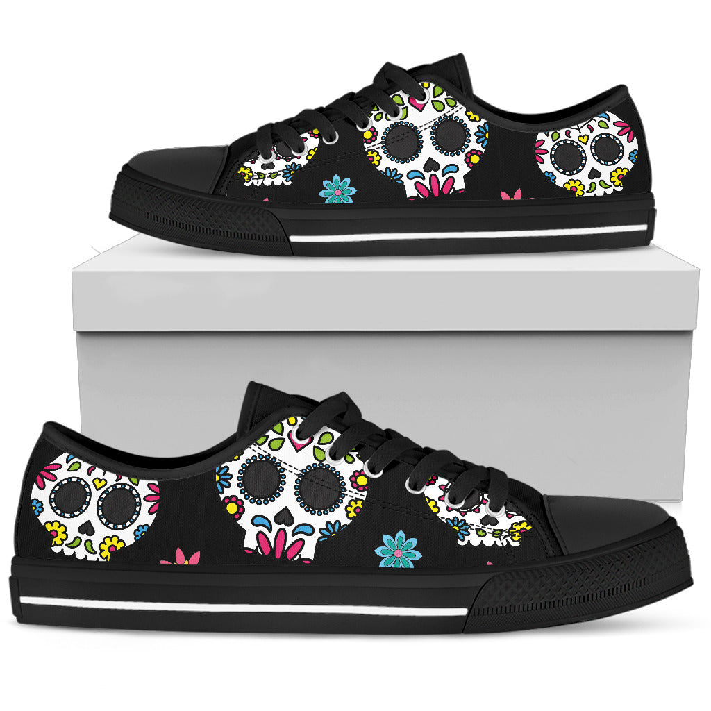 Women's Sugar Skull Canvas Shoes 001 (High top & Low top) - designfullprint