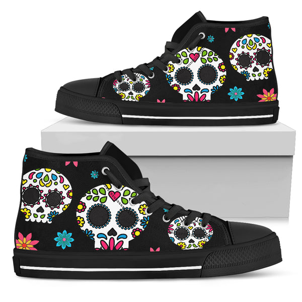 Mexican Sugar Skull Lightweight High Top Canvas Shoes 001 (Men & Women Size) - designfullprint