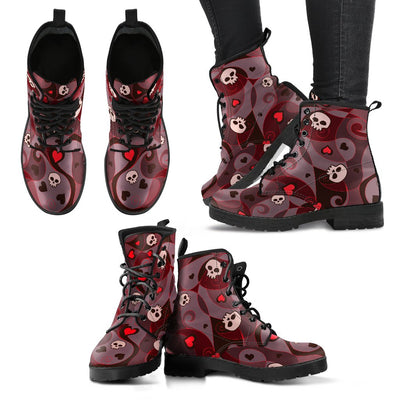 Cute Heart & Skulls Women's Boots