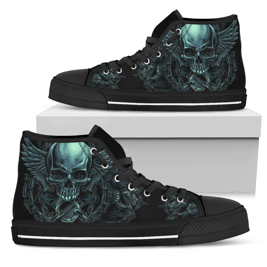 Black Skull Lightweight High Top Canvas Shoes