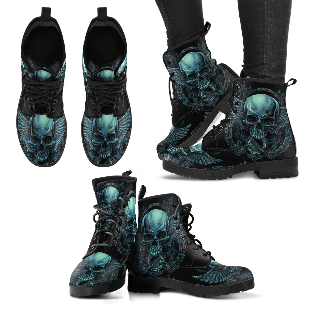 New Comfortable Lace Up Leather Skull Boots 004 - designfullprint