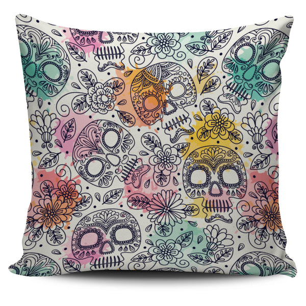 Watercolor Skull Pillow Cover - designfullprint