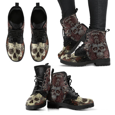New Comfortable Lace Up Leather Skull Boots 001 - designfullprint