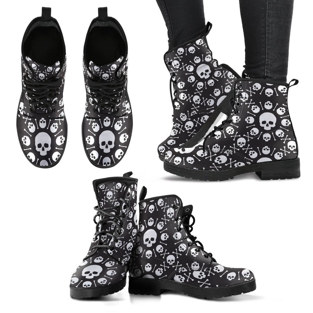 New Comfortable Lace Up Leather Boots Skull 017