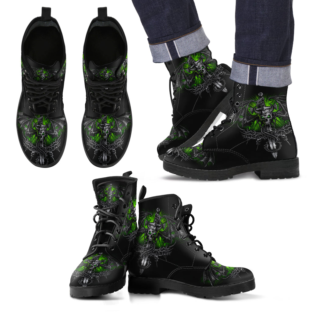 New Comfortable Lace Up Leather Skull Boots 013