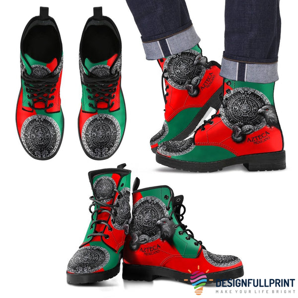 New Comfortable Lace Up Leather Mexican Flag Unisex Boots - designfullprint
