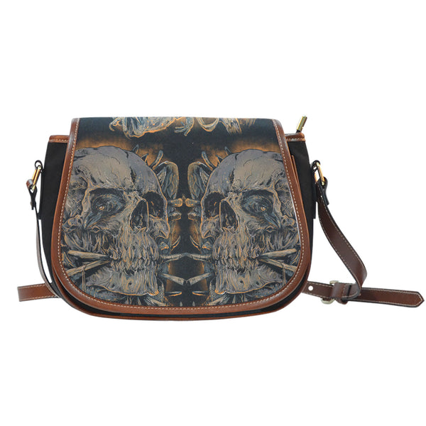 3D Skull Leather Cross-Body Carrying Strap Canvas Saddle Bags 005 - designfullprint