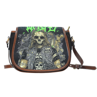3D Skull Leather Cross-Body Carrying Strap Canvas Saddle Bags 003