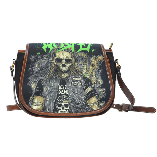3D Skull Leather Cross-Body Carrying Strap Canvas Saddle Bags 003 - designfullprint