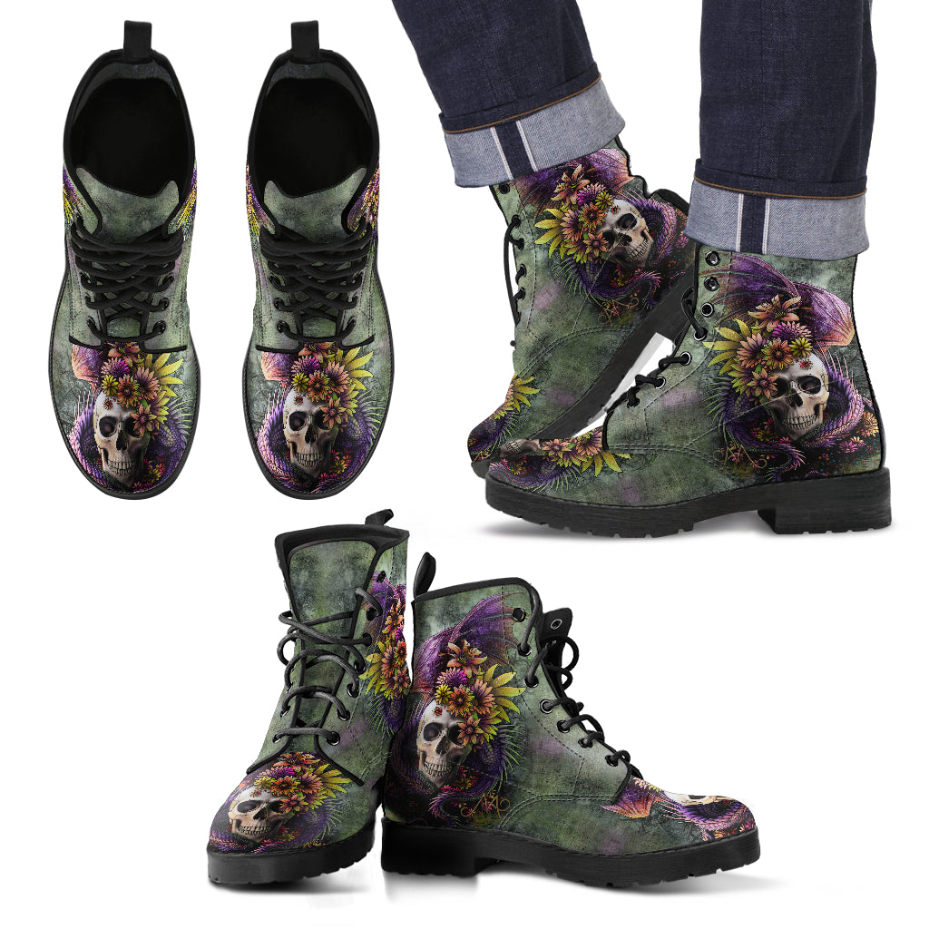New Comfortable Lace Up Leather Skull Boots 007
