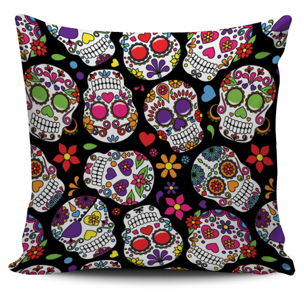 Multi Colored Skull Pillow Cover - designfullprint