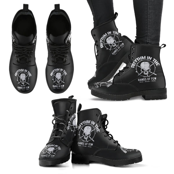 New Comfortable Lace Up Leather Boots Drum Skull - designfullprint