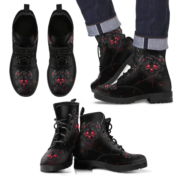 New Lace Up Skull Leather Smelting boots 028 - designfullprint