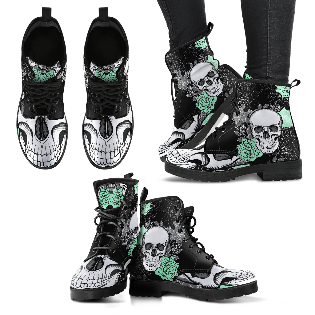 New Comfortable Lace Up Leather Skull Boots 022