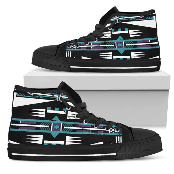 Men Black Sole Native American Pattern Shoes