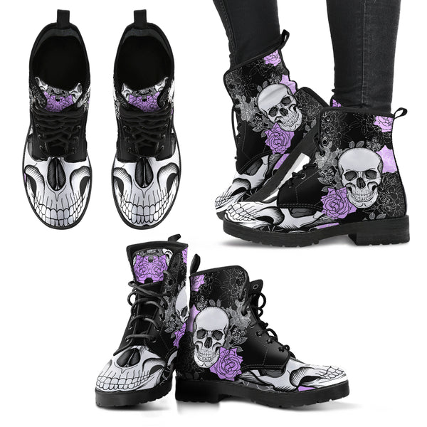 Full Skull New Comfortable Lace Up Leather Boots 023 - designfullprint