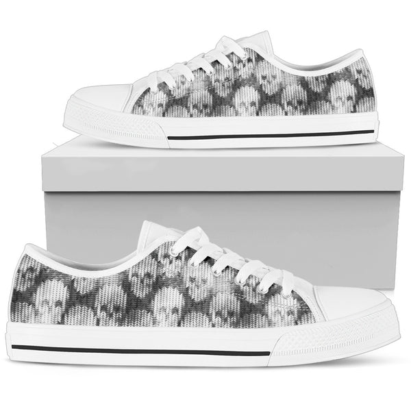 Skull Low Top Canvas Shoes 02 Women/Men, Black/White - designfullprint