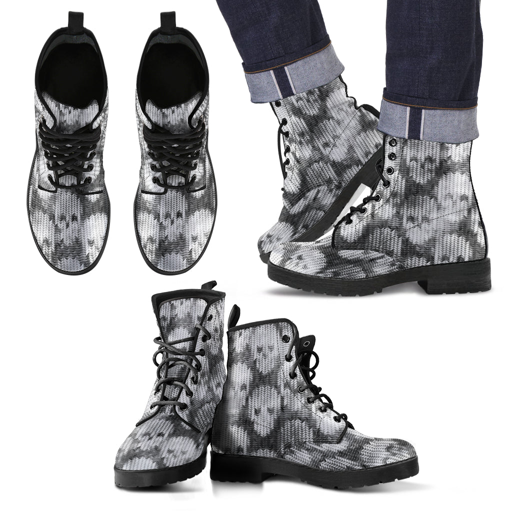 New Comfortable Lace Up Leather Boots Skull 016 - designfullprint
