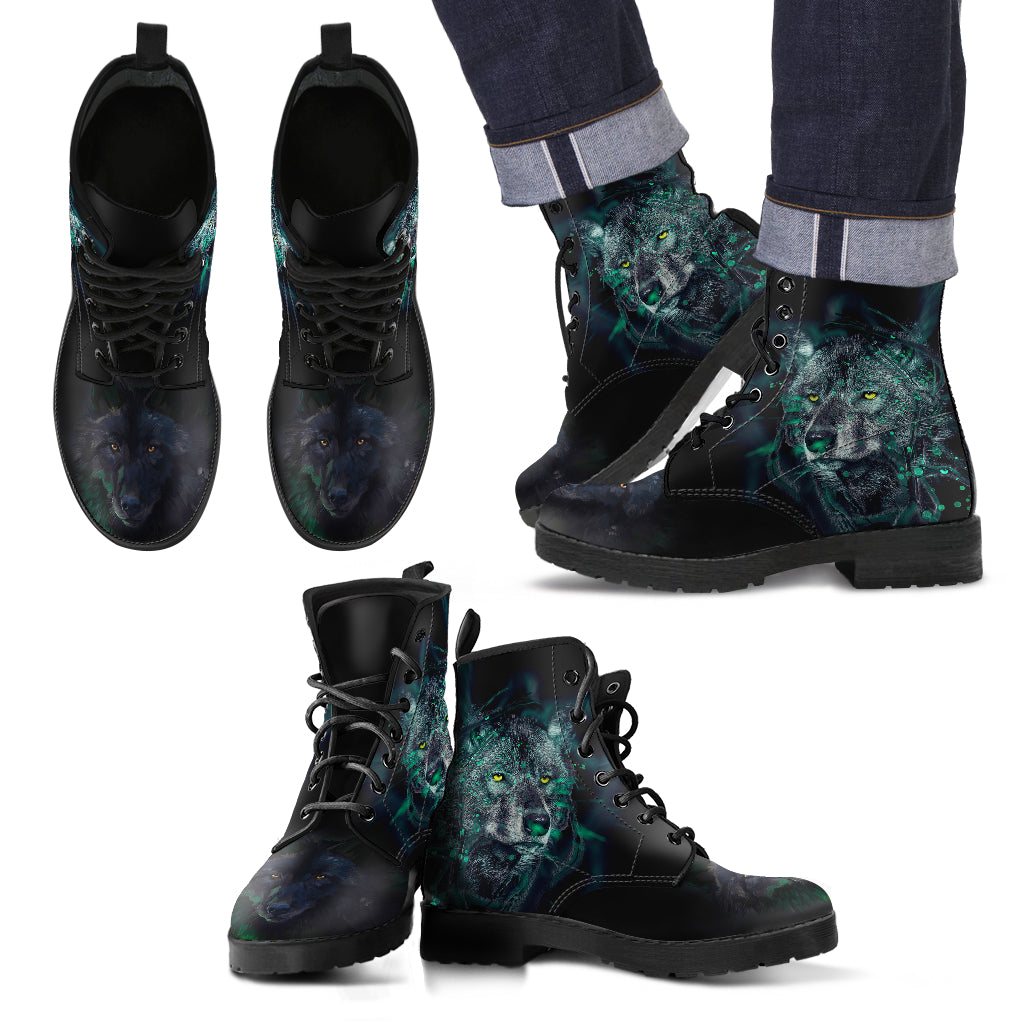 New Comfortable Lace Up Leather Boots- Wolf and Green Light 002
